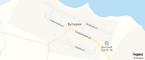 Совхозная улица на карте деревни Бутырки с номерами домов