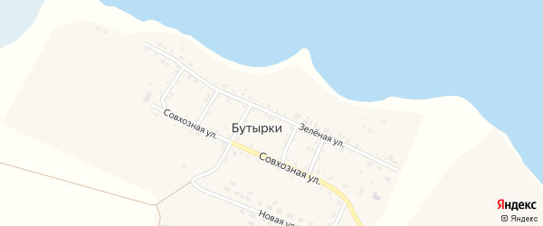 Зеленая улица на карте деревни Бутырки с номерами домов