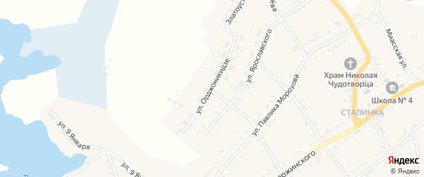 Улица Орджоникидзе на карте Карабаша с номерами домов