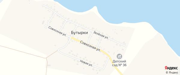 Узкий переулок на карте деревни Бутырки с номерами домов