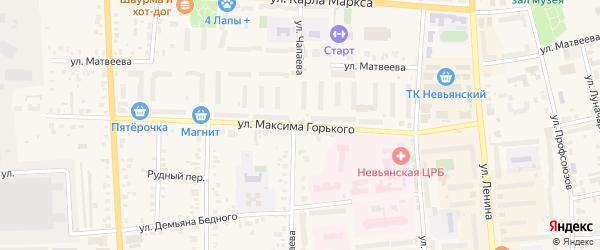 Улица Максима Горького на карте Невьянска с номерами домов