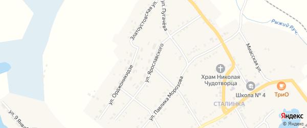 Улица Ярославского на карте Карабаша с номерами домов