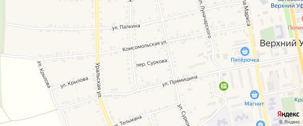 Переулок Суркова на карте Верхнего Уфалея с номерами домов