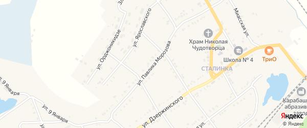 Улица Павлика Морозова на карте Карабаша с номерами домов