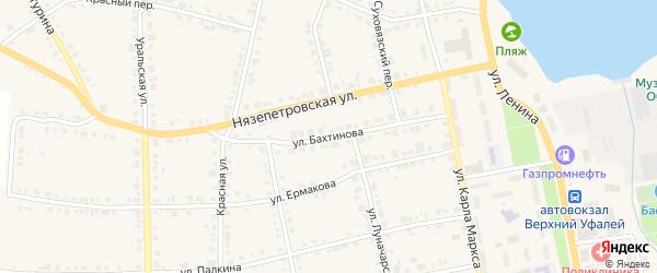 Улица Бахтинова на карте Верхнего Уфалея с номерами домов