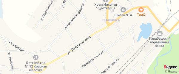 Улица Дзержинского на карте Карабаша с номерами домов