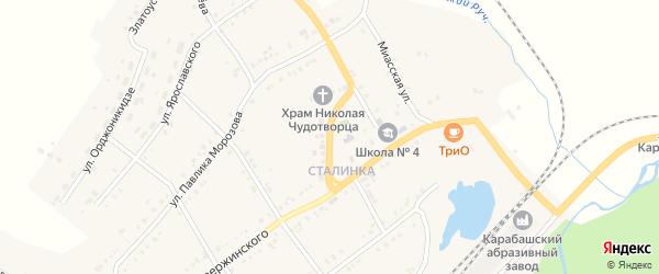 Улица Павших Борцов на карте Карабаша с номерами домов