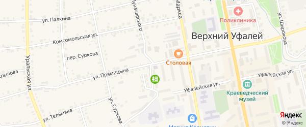 Улица Луначарского на карте Верхнего Уфалея с номерами домов