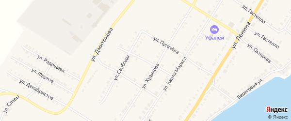Переулок Карла Маркса на карте Верхнего Уфалея с номерами домов