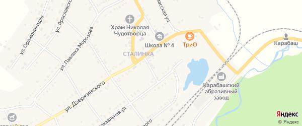 Переулок Привокзальный 1-2-3 на карте Карабаша с номерами домов