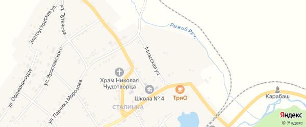 Миасская улица на карте Карабаша с номерами домов