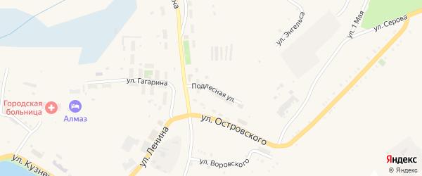Подлесная улица на карте Карабаша с номерами домов
