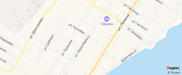 Улица Пугачева на карте Верхнего Уфалея с номерами домов