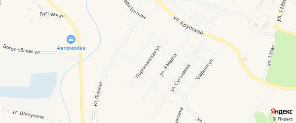 Партизанская улица на карте Карабаша с номерами домов