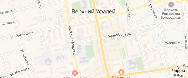 Уфалейская улица на карте Верхнего Уфалея с номерами домов
