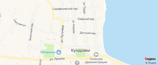 Детский переулок на карте села Кундрав с номерами домов