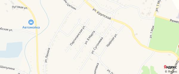 Улица 8 Марта на карте Карабаша с номерами домов