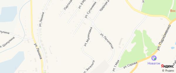 Улица Малиновка на карте Карабаша с номерами домов