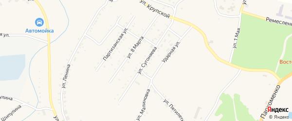 Улица Сугоняева на карте Карабаша с номерами домов