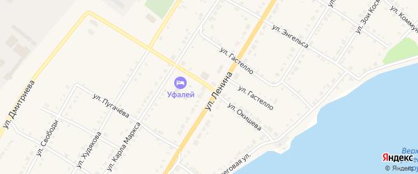 Переулок Окишева на карте Верхнего Уфалея с номерами домов