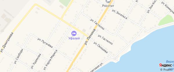 Улица Окишева на карте Верхнего Уфалея с номерами домов