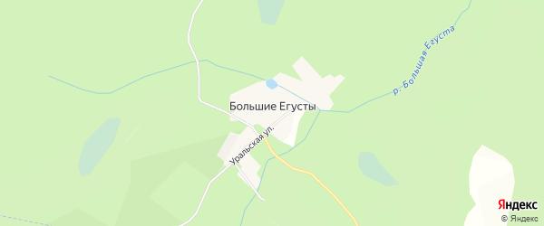 Карта поселка Большие Егусты города Кыштыма в Челябинской области с улицами и номерами домов