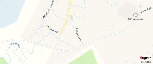 Рабочая улица на карте Верхнего Уфалея с номерами домов