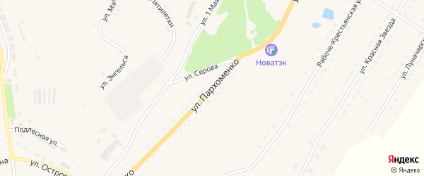 Улица Пархоменко на карте Карабаша с номерами домов
