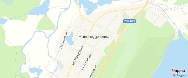 Карта села Новоандреевки города Миасса в Челябинской области с улицами и номерами домов