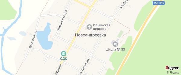 Песчанная улица на карте села Новоандреевки с номерами домов