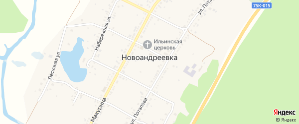 Озерная улица на карте села Новоандреевки с номерами домов