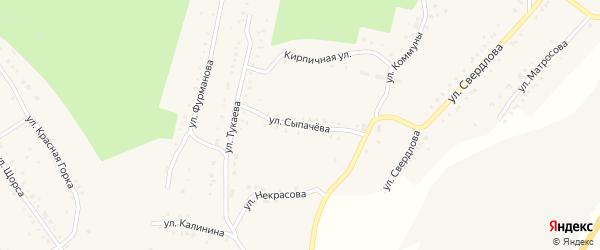 Улица Сыпачева на карте Карабаша с номерами домов