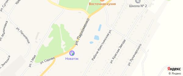Ударная улица на карте Карабаша с номерами домов