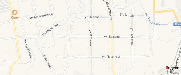 Улица 8 Марта на карте Верхнего Уфалея с номерами домов