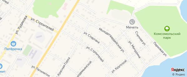 Улица Спартака на карте Верхнего Уфалея с номерами домов