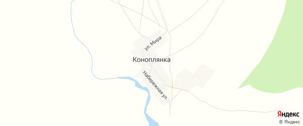 Карта поселка Коноплянки в Челябинской области с улицами и номерами домов