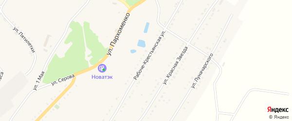 Рабоче-Крестьянская улица на карте Карабаша с номерами домов