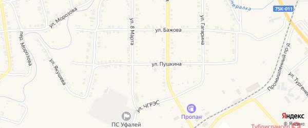 Улица Пушкина на карте Верхнего Уфалея с номерами домов