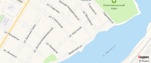 Улица Крупской на карте Верхнего Уфалея с номерами домов