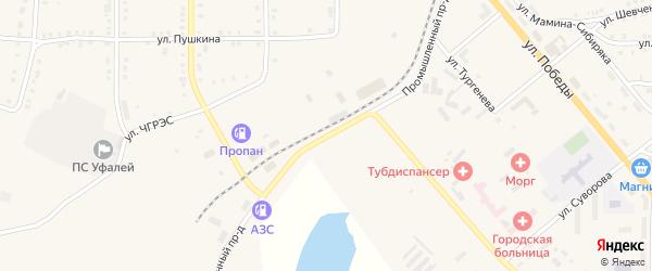 Промышленный проезд на карте Верхнего Уфалея с номерами домов