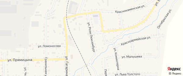 Улица Розы Люксембург на карте Верхнего Уфалея с номерами домов