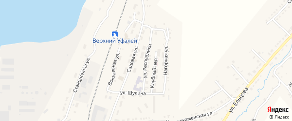 Улица Республики на карте Верхнего Уфалея с номерами домов