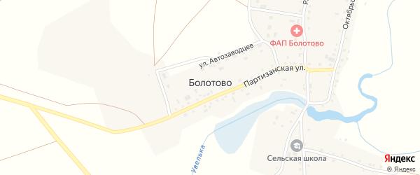 Береговая улица на карте деревни Болотово с номерами домов