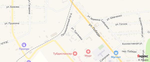 Улица Тургенева на карте Верхнего Уфалея с номерами домов