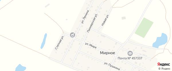 Пионерская улица на карте Мирного села с номерами домов
