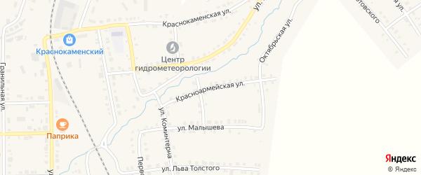 Красноармейская улица на карте Верхнего Уфалея с номерами домов