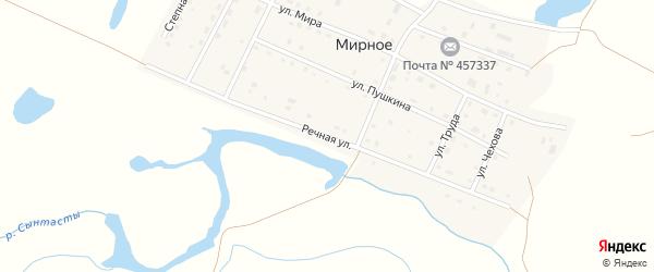Речная улица на карте Мирного села с номерами домов