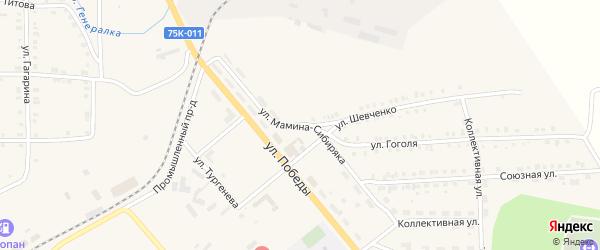 Улица Мамина-Сибиряка на карте Верхнего Уфалея с номерами домов