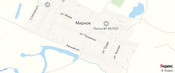 Улица Пушкина на карте Мирного села с номерами домов