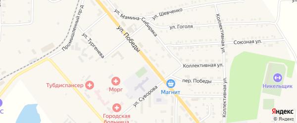 Улица Победы на карте Верхнего Уфалея с номерами домов